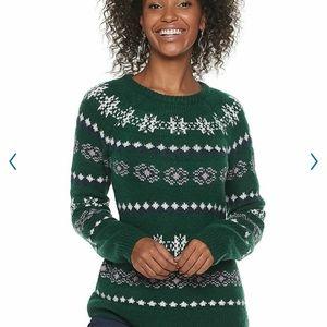 Green Fairisle Winter Print Soft Sweater